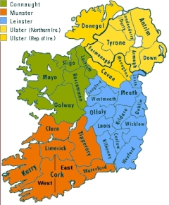 Ireland provine & County Map